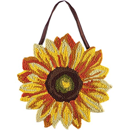 Evergreen Flag Beautiful Colorful Sunflower Hooked Door Décor 18 X 18 Inches Fade And Weather Resistant Outdoor Decoration For Homes Yards And Gardens Garden Outdoor