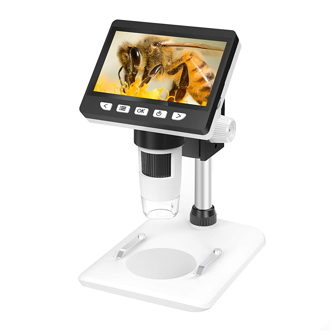 サリー入射絶対にSkybasic デジタル顕微鏡 LCDデジタル マイクロスコープ 8個LED 4.3インチモニタ HD1080P高画素 2600mAh 最大1000倍率 写真/動画保存?転送可能 8G TFカード usbケーブル付き WIN/XP/Vista7/8/10 Mac10.5&以降対応