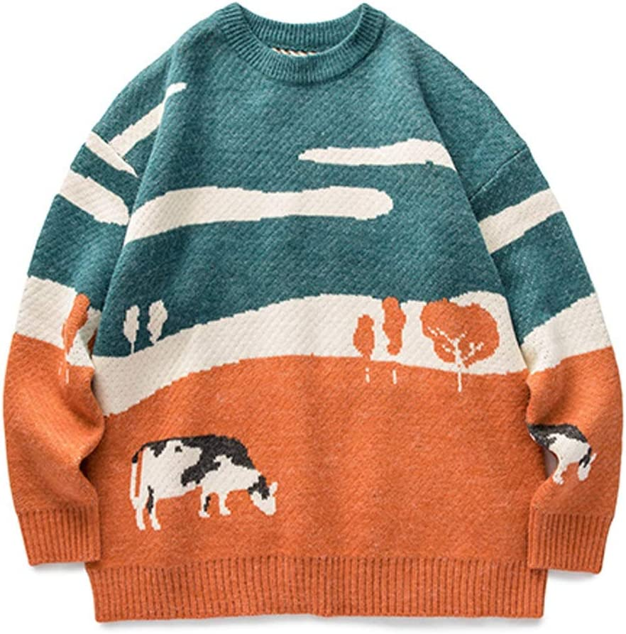 TWDYC Youth Men Cows Vintage Winter Sweaters Pullover Mens O-Neck Korean Fashions Sweater Women Casual Harajuku Clothes (Color : Gray, Size : L-length-67CM)