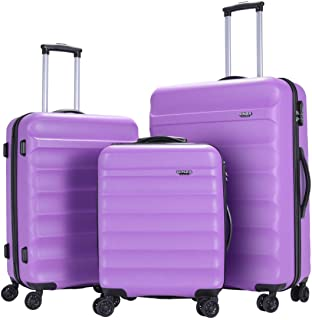 GinzaTravel Anti-scratch ABS Material Luggage 3 Piece Sets Lightweight Spinner Purple color Suitcase (20in 24in 28in)
