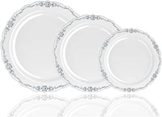 60 Pcs Disposable Plastic Plates | Victorian Design Premium Disposable Plates | 9 inch. Light Grey & Silver China Like Plastic Plates For Parties & Weddings