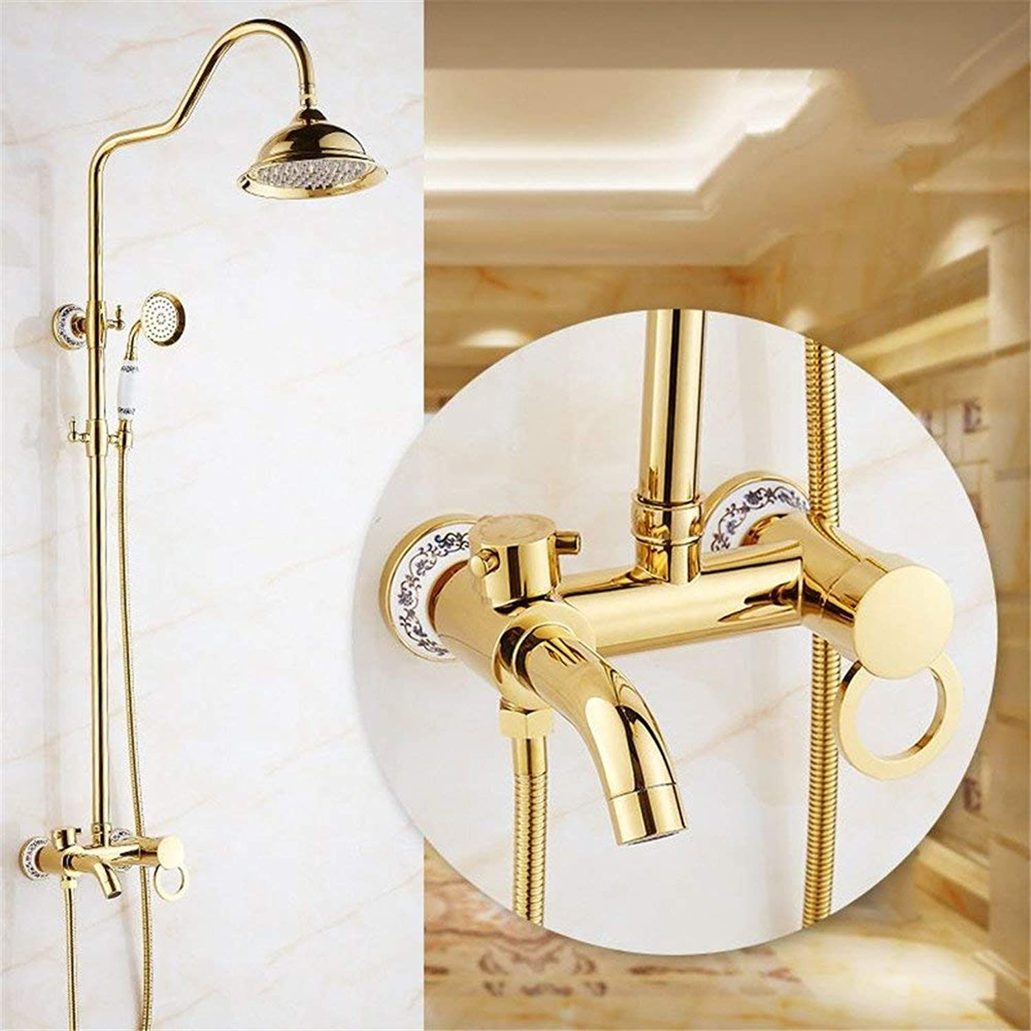 Parliament gold of Glass sprinklers Shower Costume Full Wall of Copper Shower Head Handheld Shower Sprinkler System with Turbocharger, B