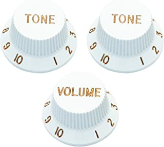 Metallor Speed Control Knobs 1 Volumn 2 Tone Fits Metric Pots Knobs Compatible with Fender Strat Stratocaster Style Electric Guitar Parts. (White)