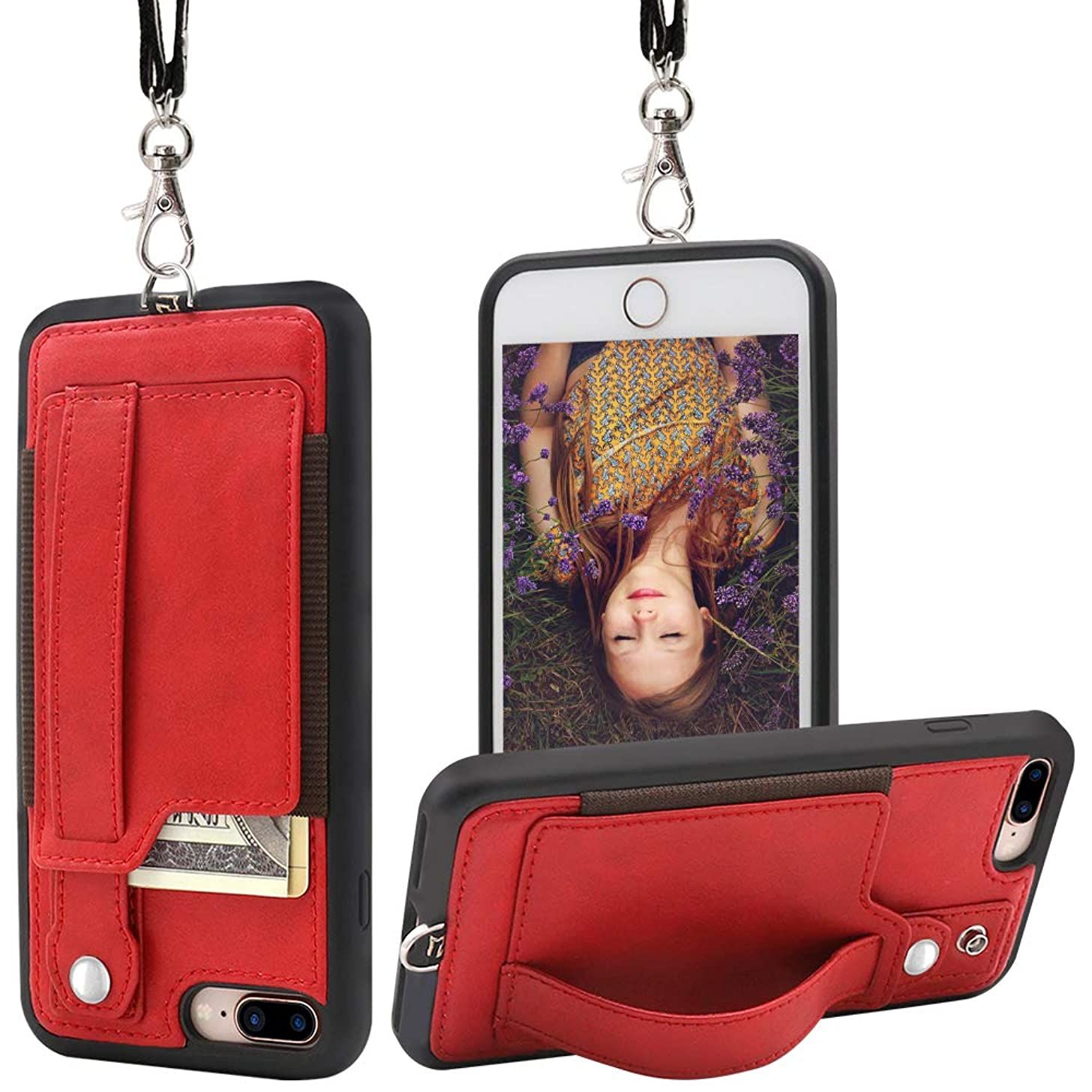 TOOVREN iPhone 7 Plus Wallet Case, iPhone 8 Plus Wallet Case, Necklace Lanyard Case with Kickstand Card Holder and Ajust Detachable Anti-Lost Lanyard Strap Perfect for Daily use, Work, Outdoors RED