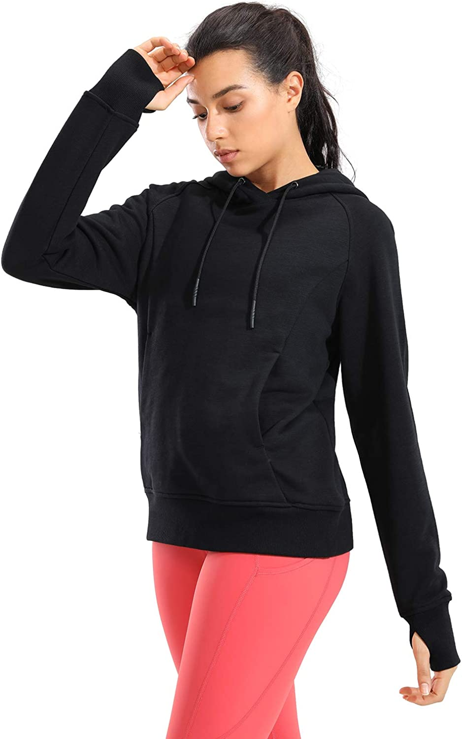 CRZ YOGA Women's Cotton Hoodies Pullover Hooded Sweatshirt Long Sleeve Workout Top with Thumb Holes