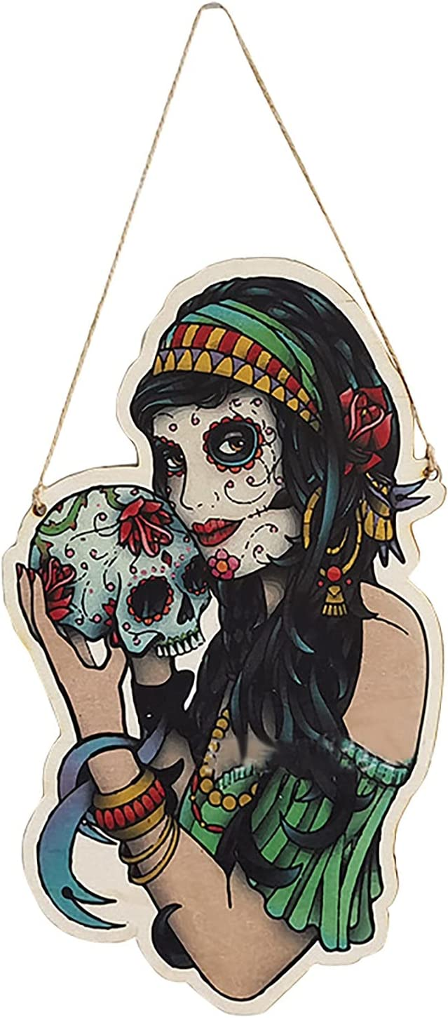 Halloween Wooden Pendant Horror Decorative Time sale Painted Sales Skull Beauty