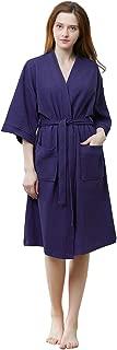 Womens Waffle Kimono Bathrobe Soft Above Knee Length Hotel Bridesmaid Spa Robe Lightweight Dressing Gown
