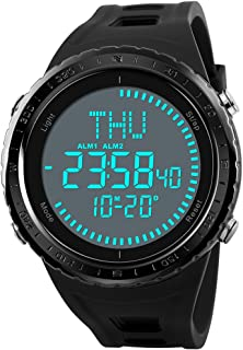 Mens World Time Digital Compass Watches Waterproof Outdoor Sports Watches Countdown Wrist Watches