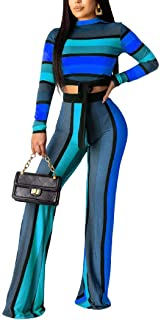 Howely Women Mock-Neck Stripe Crop 2-Piece Stretch Pants and Tops Sets