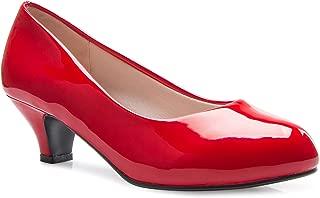 OLIVIA K Women's Classic Closed Toe Kitten Heel Pumps | Dress, Work, Party Low Heeled