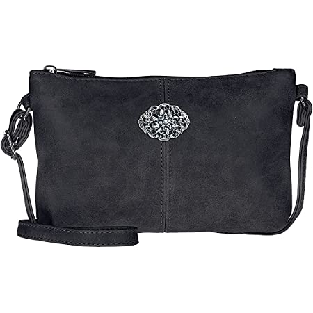 Trachtentasche Dirndltasche kleine Umhängetasche Kunst-Leder anthrazit dunkelgrau-metallic