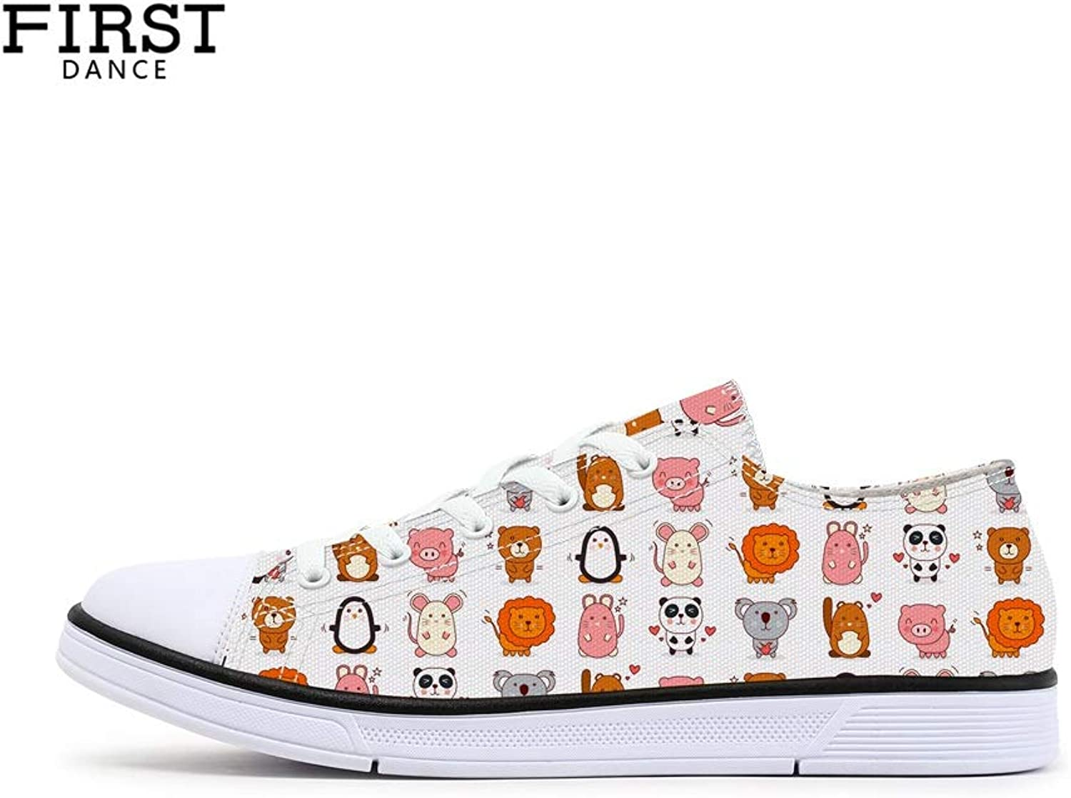 FIRST DANCE shoes for Women Cat shoes Pug Dog shoes Canvas Casual shoes Animal Printed Sneakers Low Top Cute shoes for Ladies