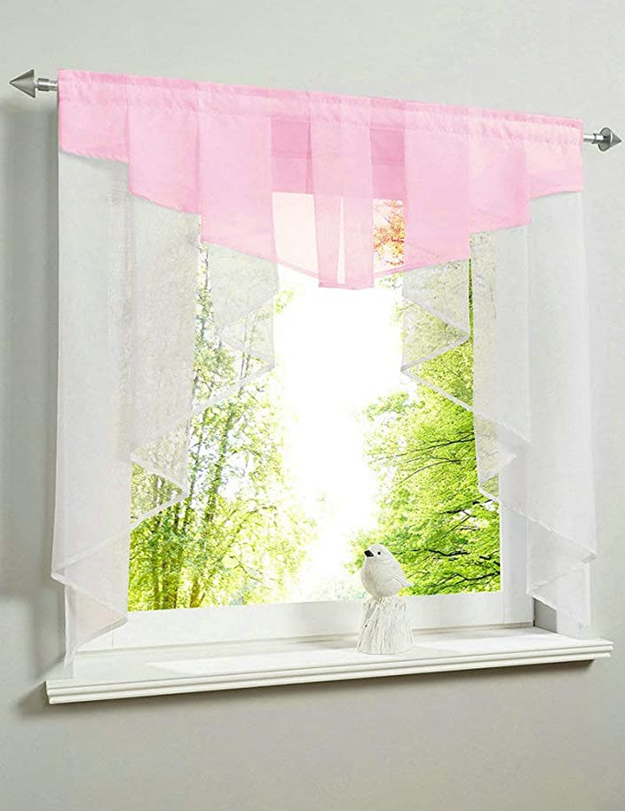 KMSG 1pc Pleated Irregular Stitching Transparent Tulle White Sheer Valances Swag Tier Ruffles Kitchen Curtain Small Window Door Curtain Voile Drape Short Curtain Panel for Living Dining Room, Pink