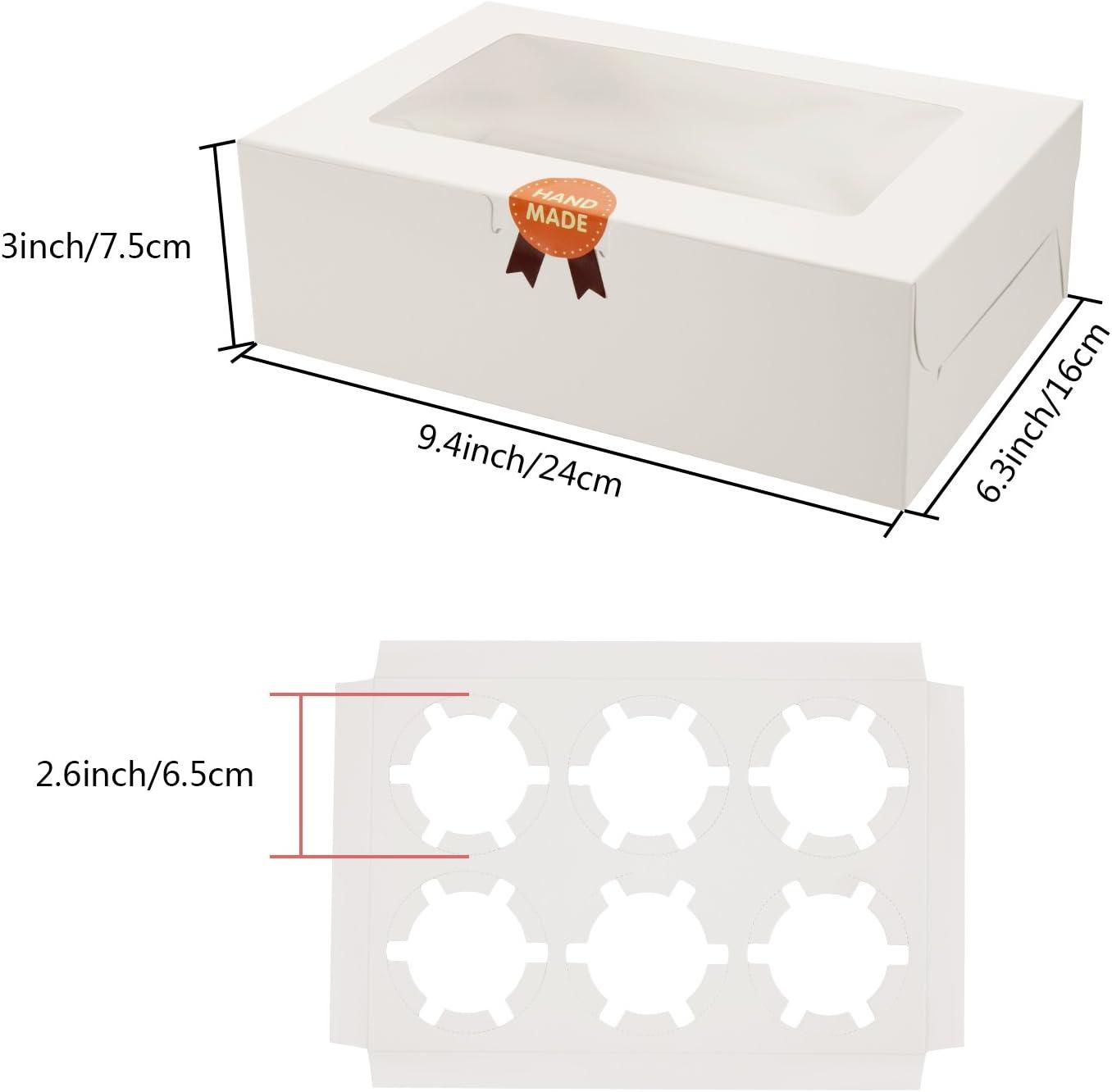 Scatole per Cupcake Diealles 8 Pezzi Scatole per Muffin con Finestra Trasparente e Inserti per 6 Cupcake Bianco