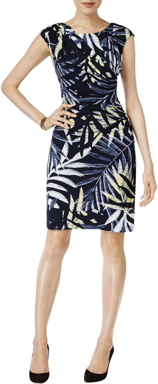 Connected Apparel Womens Petites Printed Sheath Cocktail Dress