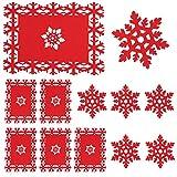 Whaline Juego de 12 manteles individuales y posavasos, diseño de copo de nieve rojo para fiestas de Navidad, invierno, vacaciones, bodas, cenas