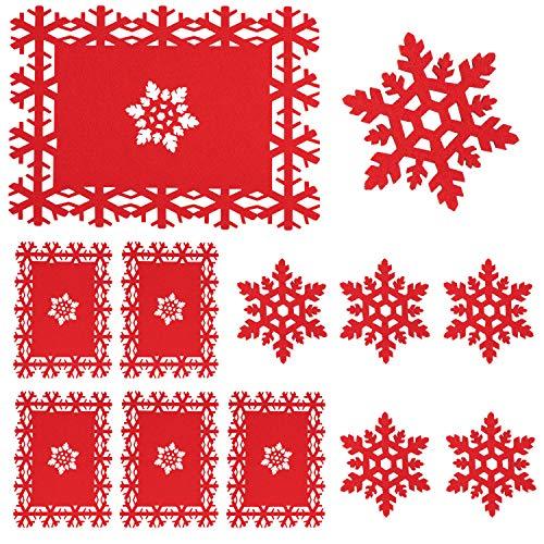 Whaline - Set da 12 tovagliette e sottobicchiere, motivo fiocco di neve rosso, per feste di Natale, vacanze invernali, matrimoni, cene