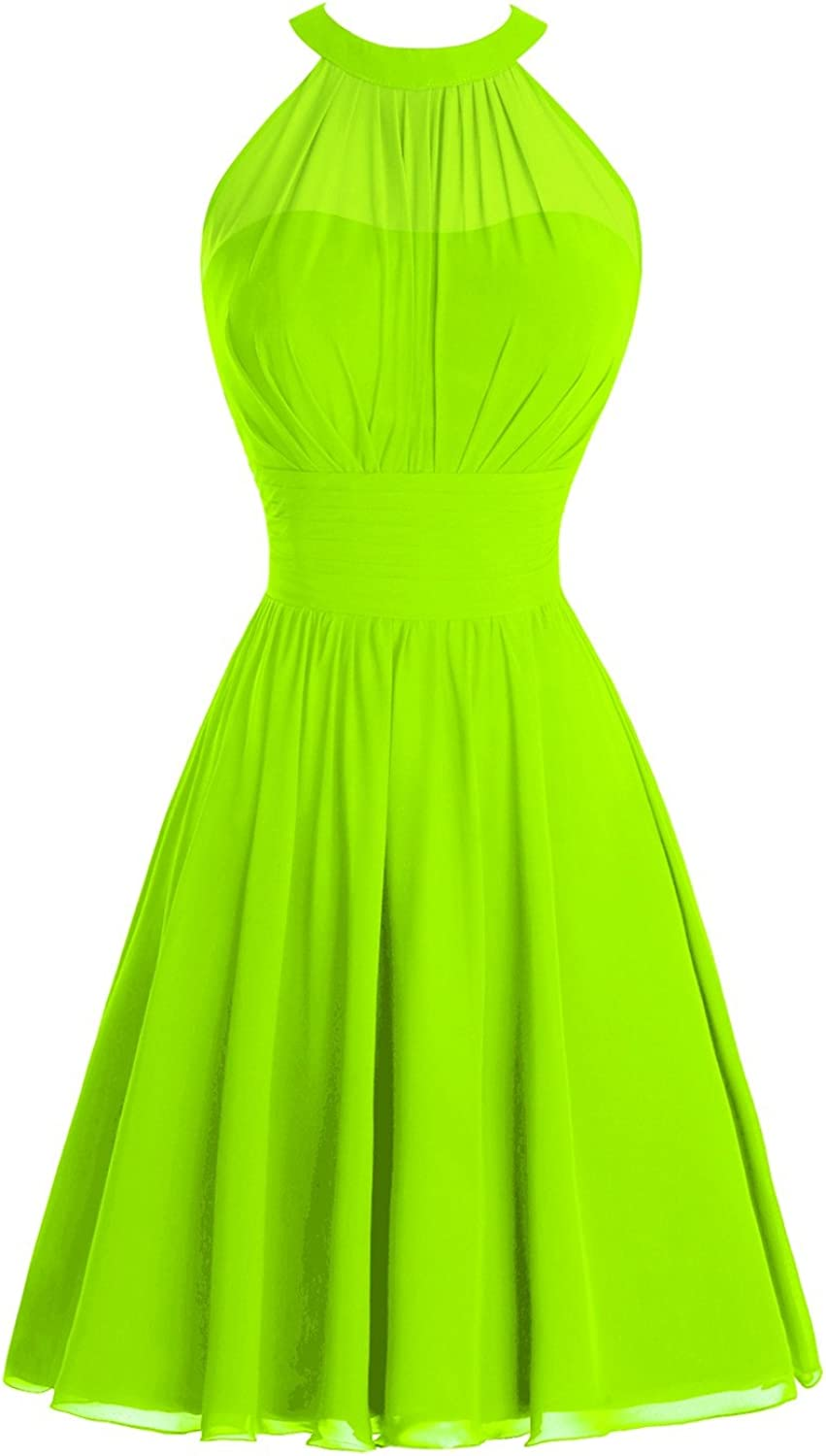 Bess Bridal Women's Halter Ruched Knee Length Short Prom Bridesmaid Party Dress
