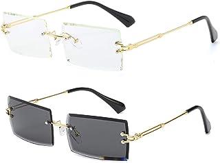 Rimless Rectangle Sunglasses for Women/Men Ultralight...