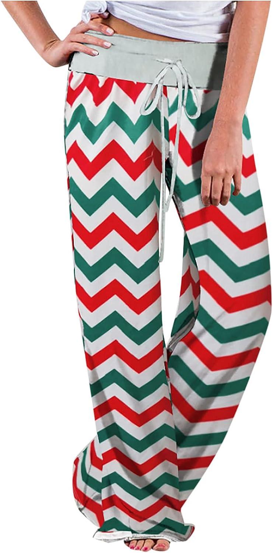 MIVAMIYA Womens Comfy Leopard Print High Rise Pajama Pants Elastic Waist Drawstring Lounge Pants Baggy Palazzo Pants