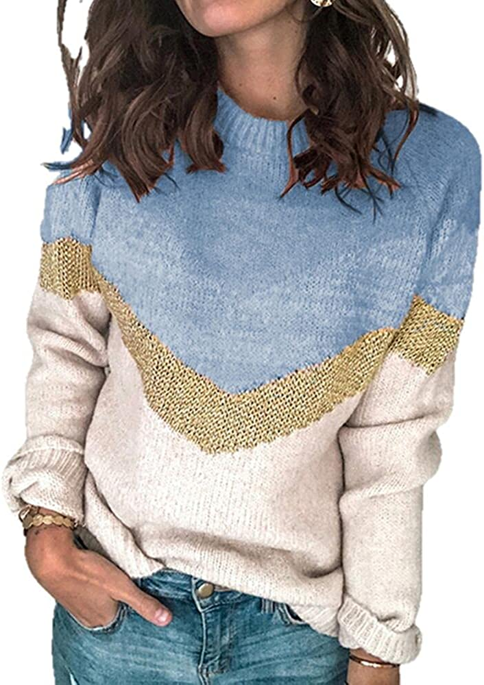 Casual Lady Sweater Stitching Neck Drop Shoulder Sleeve Winter Knitted Sweater