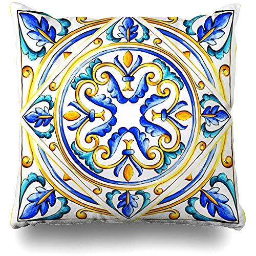 SSHELEY Kissenbezüge Blau Italienische Majolika Fliesen Blumengrün Schwarz Blumenglas Grafik Muster Kissenbezug Kissenbezug