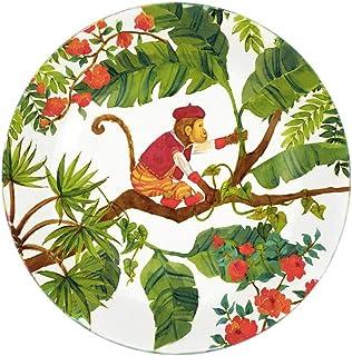 Les Jardins de la Comtesse - Assiette à Dessert en Verre Trempé thème Singes de Bali - Très Résistante - 19,5 cm - Vaissel...