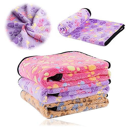"""KIWITATA Super Soft Pet Dog Cat Blanket Premium Fluffy Fleece Dog Throw Blanket with Cute Pet Paw Prints for Couch,Car,Trunk,Cage,Kennel,Dog House(L,41"""" x 30"""")"""
