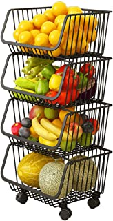 Haturi Rolling Stackable Baskets, 4 Tiers Wire Organizer Basket with Lockable Casters, Fruit Vegetable Produce Metal Stora...