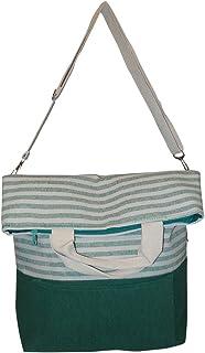 Striped 2 Way Carry Fashion Beach Tote Bag