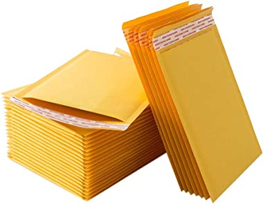 QUNANEN 5.1x 7.9 Inch Padded Envelopes Water Proof Poly Bubble Mailers Self Seal Mailing Envelopes 50pcs (Yellow 13 x 21cm)