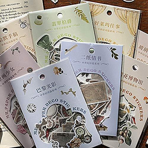 BLOUR 40 Stück Retro dekorative Aufkleber Kawaii Plant Briefpapier Aufkleber PET Kleber Aufkleber für Kinder DIY Scrapbooking Tagebuchzubehör