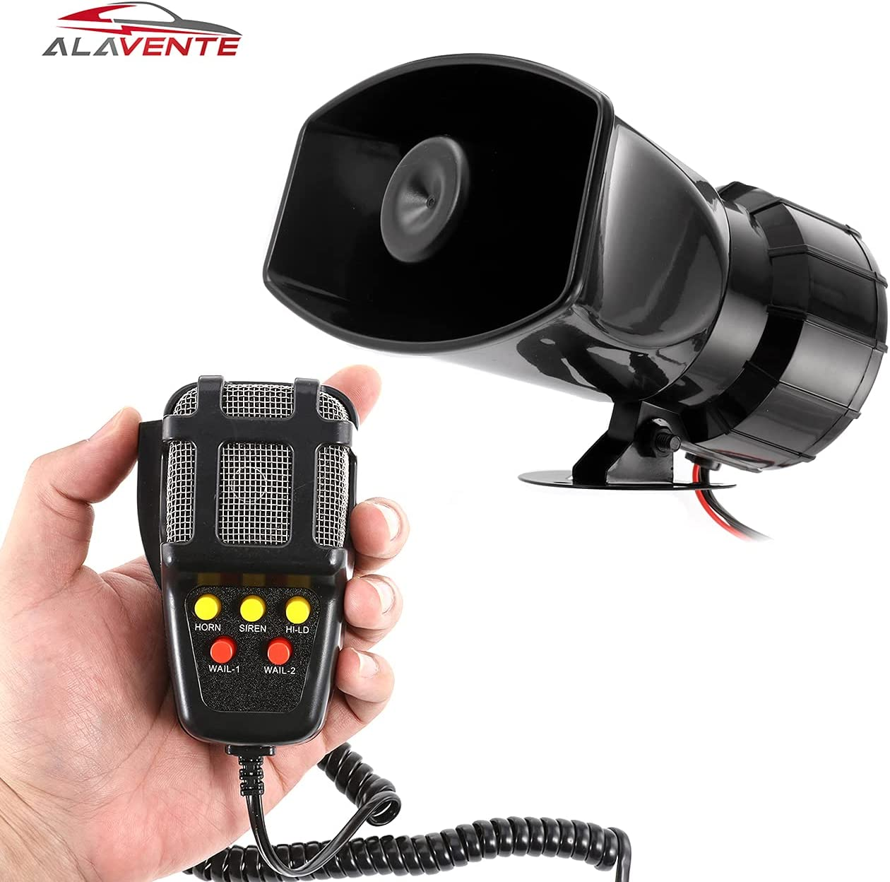 ALAVENTE Car Siren Horn 100 Watt 5 Tone Sound Siren Horn with Mic PA Speaker System Universal Fit for Car Vehicle Van Truck Motorcycle Moped