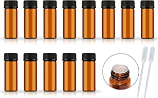 50Pack Set 1ML 2ML 5ML Amber Glass Bottle with Orifice Reducer and Cap Small Essential Oil Vials (5ML)