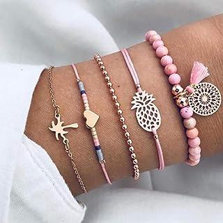 Brishow Ensemble de bracelets à pampilles multi-tours et perles réglables pour femmes et filles