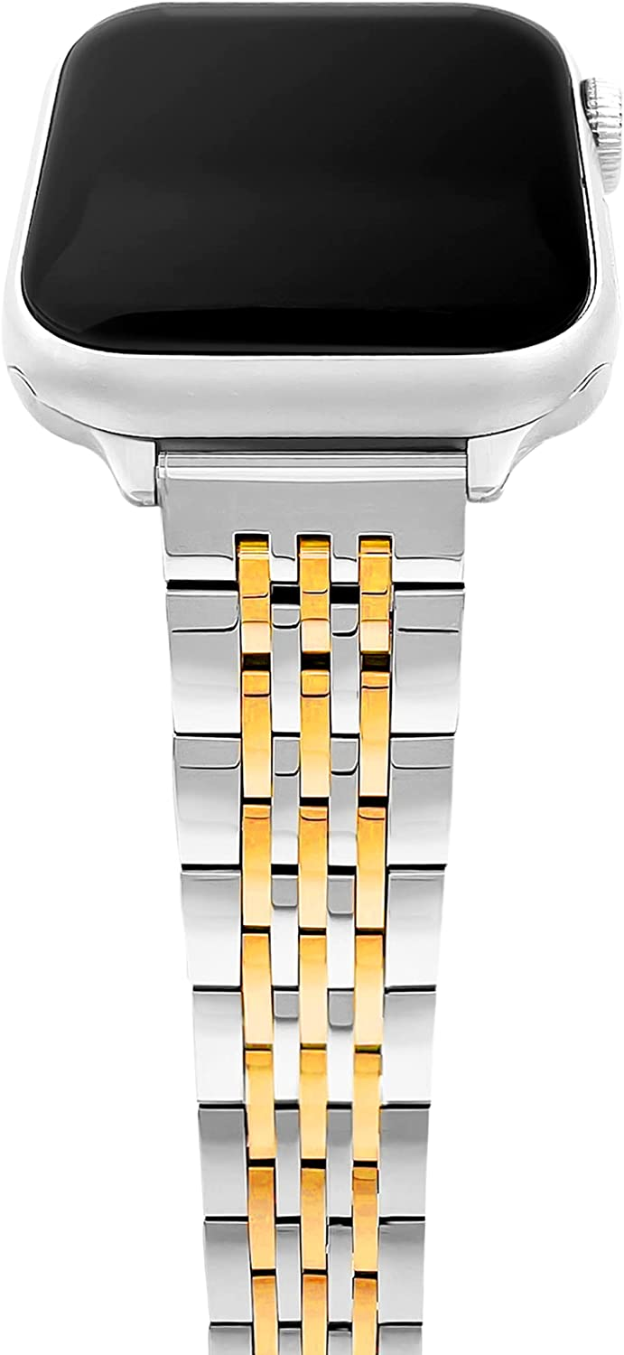 Thin Feminine Watch Bands Compatible with Apple Watch Bands for Women 38mm 40mm 42mm 44mm, Stainless Steel Watch Bands Compatible with Apple Watch Bands Series 6,SE,5,4,3,2,1 for iWatch Bands Silver and Gold