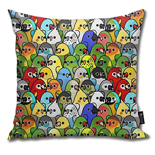 Fashion Funny Throw Pillow Covers Too Many Birds! Bird Squad Classic Printed 18 x 18 Inches Cases Cushion Cover Pillowcases for Home,Indoor,Bed,Gard
