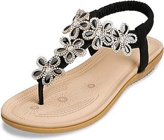Mujer Sandalias Planas Verano Bohemia Estilo Rhinestone Flor Tobillo Correa Elástica Casuales de Playa Elegantes Chanclas Damas Zapatos