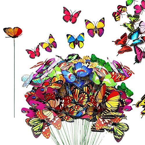 Comics Sharp 50 Pezzi di Fiori di Farfalla, 8 cm * 25 cm Giardino colorato Farfalla di Fiori Decor Cortile Esterno Patio fioriera Vaso di Fiori Giardino di Primavera Decorazione Natalizia