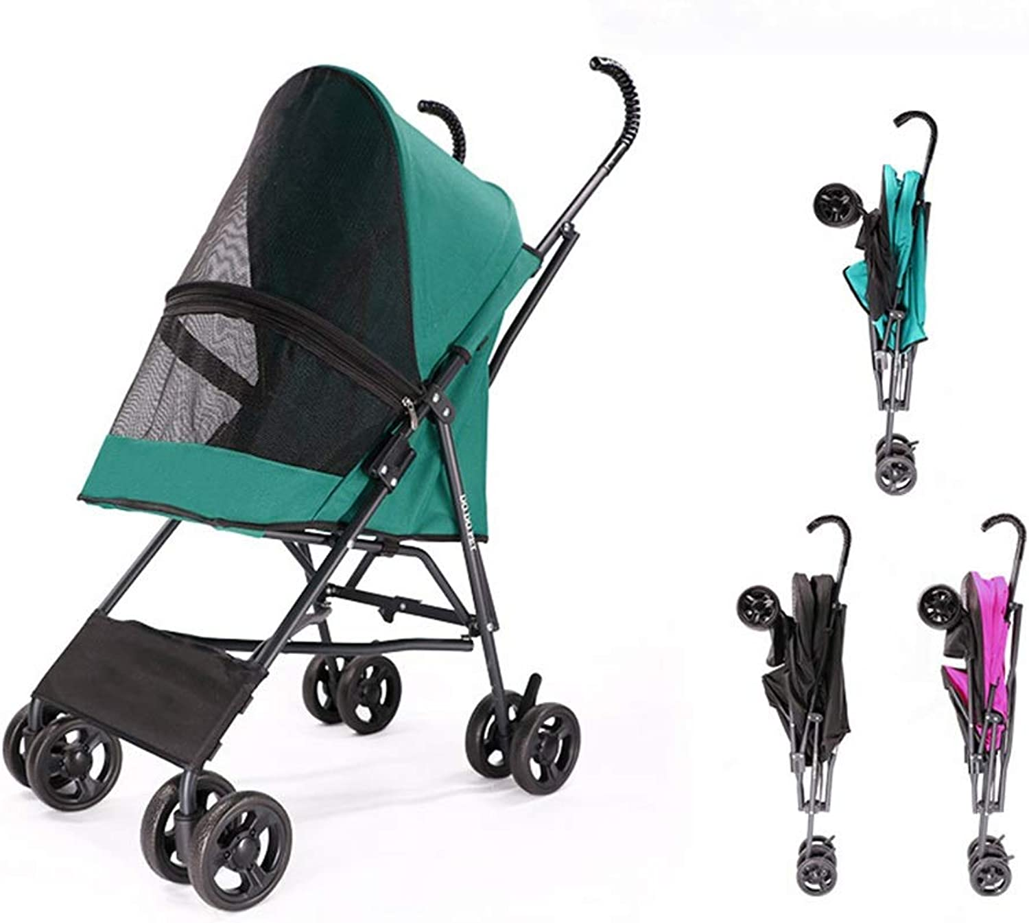Pet strollersmall dog outing cart oneclick  portable (color   bluee)