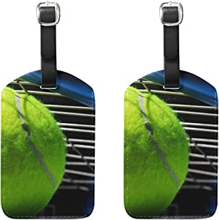 MOUUOM Sport Tennis Ball Luggage Tages Travel Labels Suitcase Bag Tag with Name Address Cards Travel 2 Pcs Set