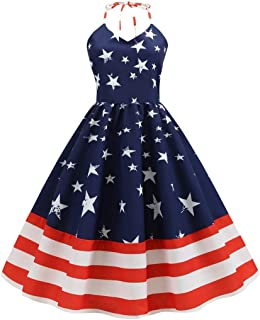 Womens Vintage Sleeveless Halter Neck US Flag Printed Evening Party Dress
