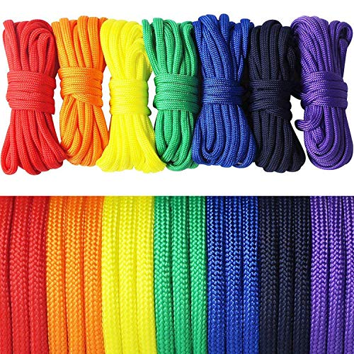 aufodara 7er Paracord Regenbogen Farben Armband Set Seile Schnüre Nylon Seil DIY Handgemachte Webart für Armband Schlüsselanhänger Knüpf Anhänger