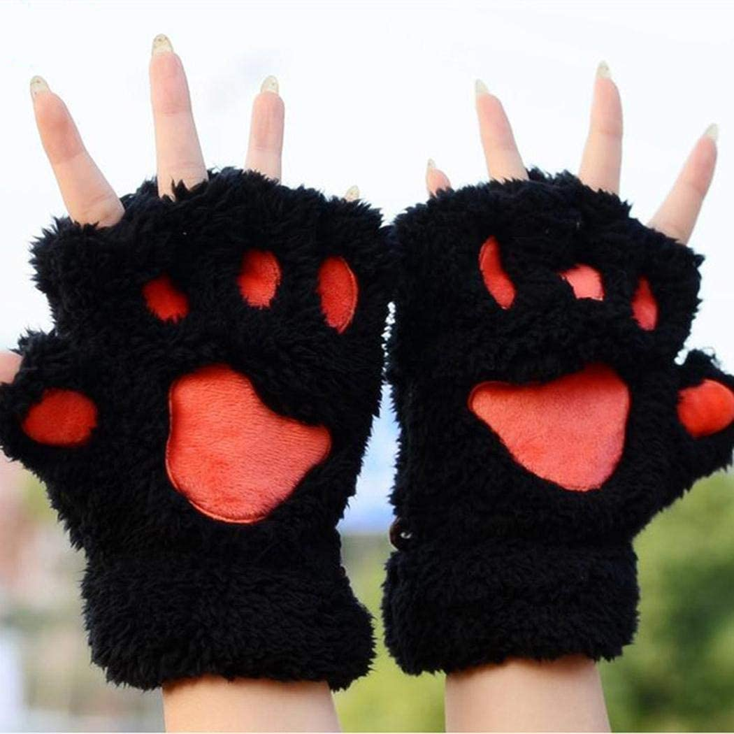 String Geometric Soft Casual Winter Autumn Half Wrist Finger Gloves Fingerless Plush Claw Unisex Cat Less with Warm Less Cartoon - (Color: Rose Red, Gloves Size: One Size)