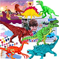 "Arts & Crafts Activity Kits. Craft Dinosaur Painting Kit comes with 6 pieces 7"" large dinos, 6 small dinos, 3 set of paints, 6 paint brushes, 3 multi-color pigments, 2 palettes, an extra large play mat, including T-rex, velociraptor,triceratops, steg..."