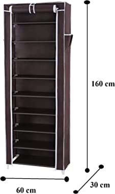 BUCKETLIST® Portable Folding Shoes Rack 9 Tiers Collapsible Shoe Racks Storage Organizer Cabinet Tower with Iron and Nonwoven