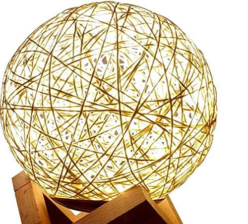 Luz Nocturna Lámparalámparas Lámparacálida Pequeña Lámpara De Mesa Dormitorio Cama Pequeña Lámpara De Noche Enchufe Electricidad Tifón Bola De Ratán