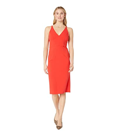 Donna Morgan Deep V-Neck Crepe Sheath Dress (Scarlet Red) Women