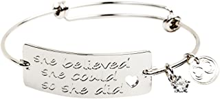 "Expandable Inspirational Stackable Charm Bracelet ""She Believed She Could So She Did"