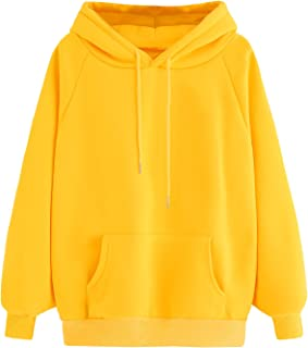 Women's Winter Solid Color Loose Drawstring Pocket Hoodie Pullover Tops